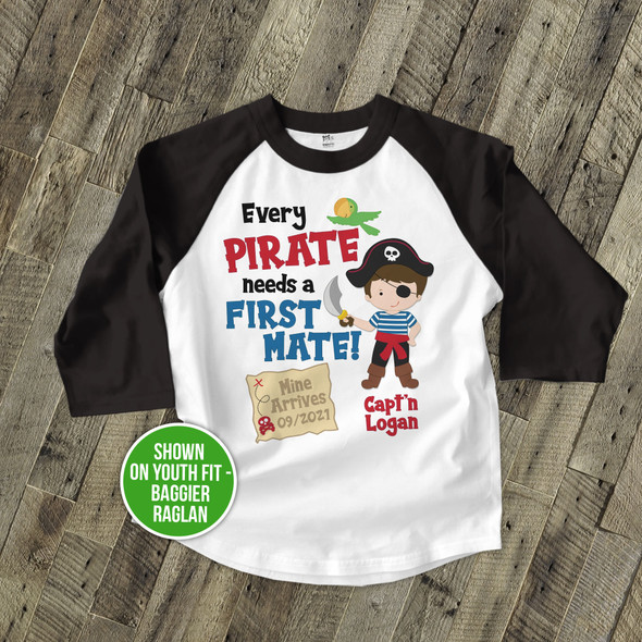 Big brother shirt pirate first mate pregnancy announcement raglan Tshirt