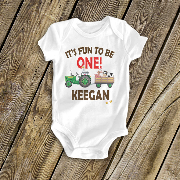 First birthday shirt tractor and farm animals 1st (or any) birthday personalized Tshirt