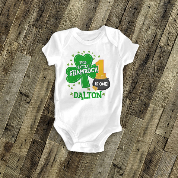 First birthday shirt Irish shamrock personalized any age birthday Tshirt