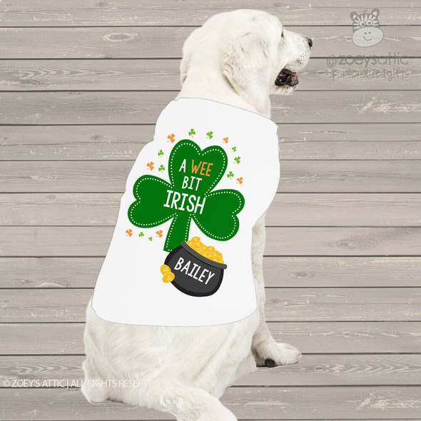 St. Patrick's Day dog shirt wee bit Irish personalized dog Tshirt