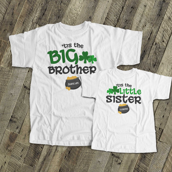 St. Patrick's Day sibling set brother or sister shamrock and pot of gold matching Tshirts