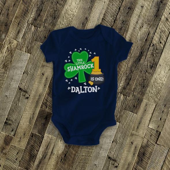 First birthday shirt Irish shamrock personalized any age birthday DARK Tshirt
