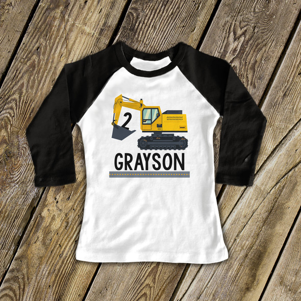 Birthday shirt boy construction excavator personalized raglan Tshirt