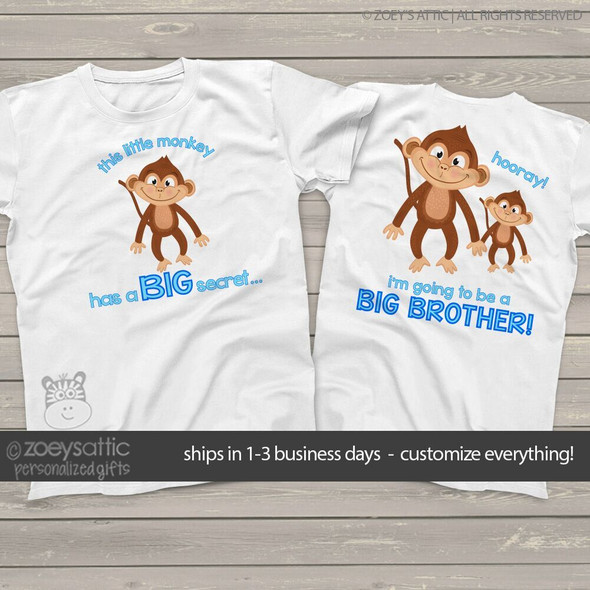 Big brother to be shirt monkey secret pregnancy announcement Tshirt