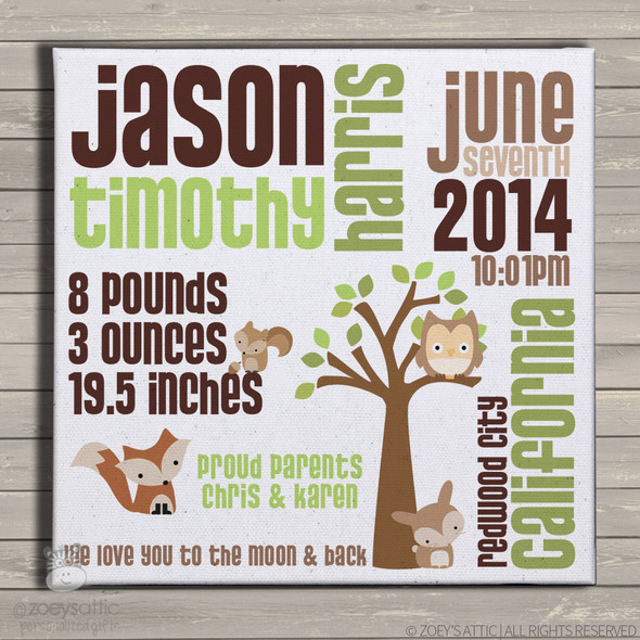 Birth announcement canvas print woodland friends custom birth announcement poster