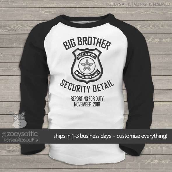 Big brother to be shirt security detail pregnancy announcement raglan Tshirt