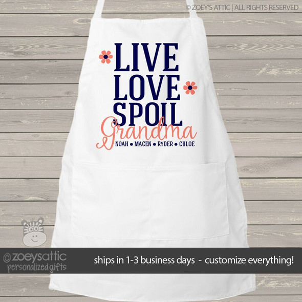Apron nana or grandma live love spoil adult personalized bib apron