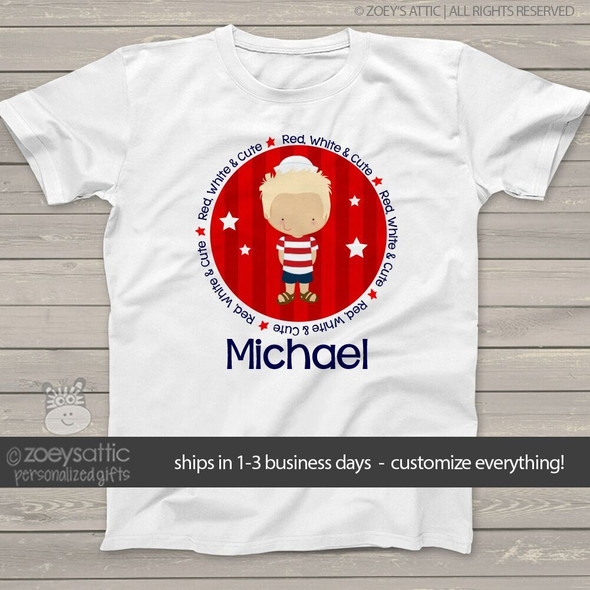 Fourth of July shirt red white and cute boys personalized Tshirt