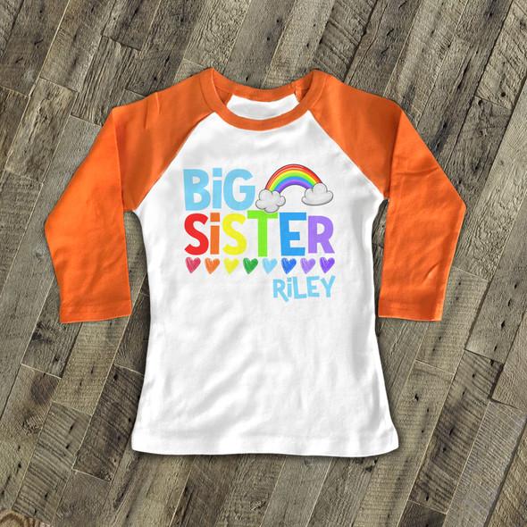Big sister shirt colorful rainbow and hearts big sister personalized raglan Tshirt