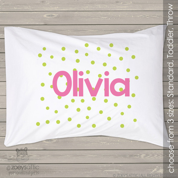 Polkadot personalized name pillowcase / pillow