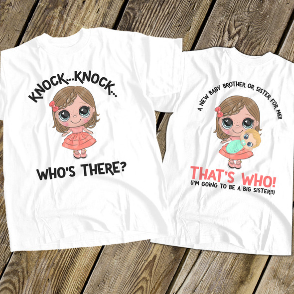 Big sister to be shirt knock knock secret pregnancy announcement Tshirt