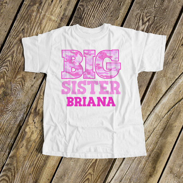 Big sister shirt pink camo personalized Tshirt
