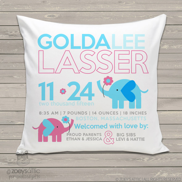 Birth announcement pillow elephant with flower custom throw pillow with pillowcase