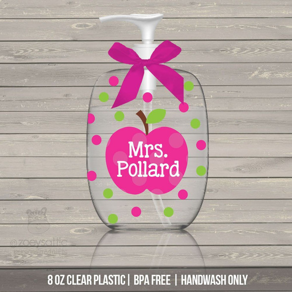 Teacher gift lotion or hand sanitizer or soap bottle personalized teacher gift - BPA free