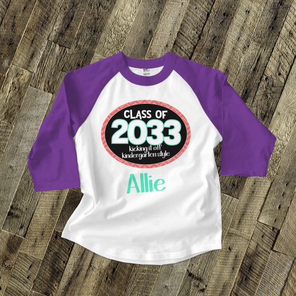 Back to school shirt girl class of any year personalized raglan Tshirt