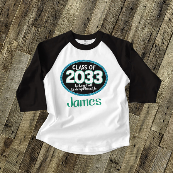 Back to school shirt boy class of or any year personalized raglan Tshirt