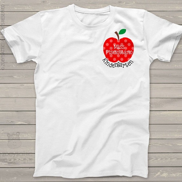 Teacher shirt apple any grade womens crew neck or v-neck personalized Tshirt