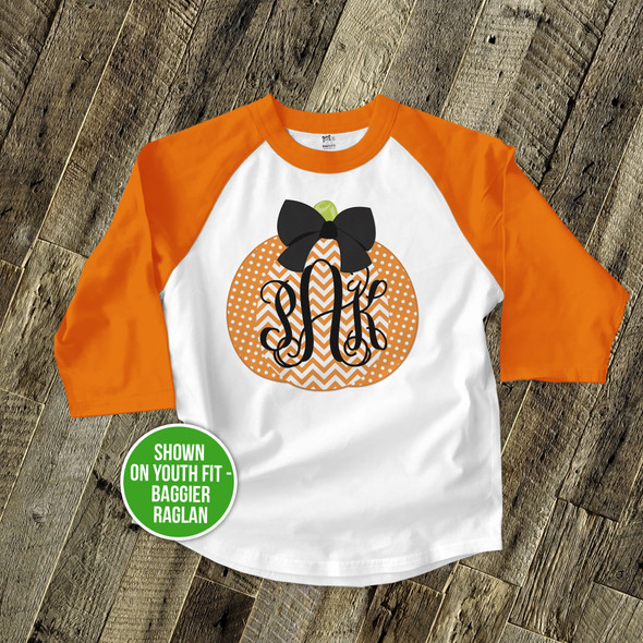 Fall shirt monogram chevron pumpkin personalized raglan Tshirt