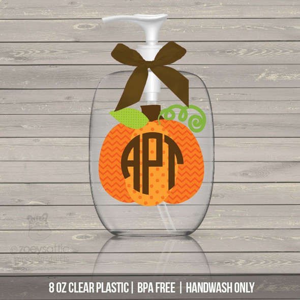 Fall pumpkin monogram lotion or hand sanitizer or soap bottle - BPA free