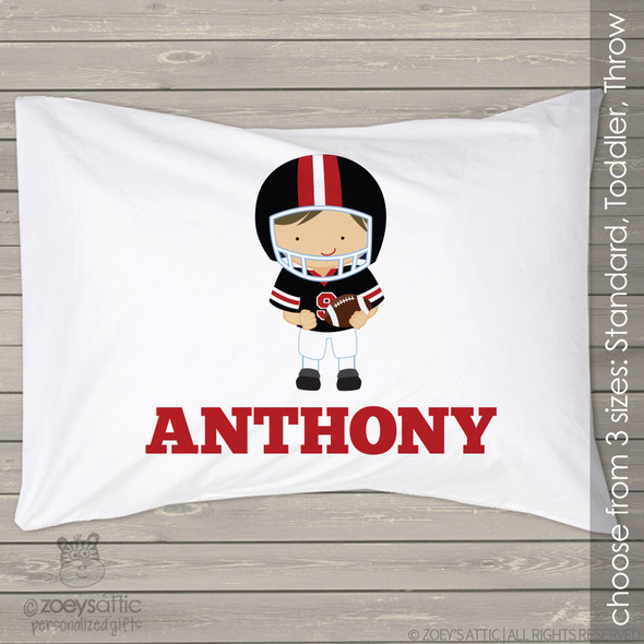 Football player sports theme personalized pillowcase / pillow
