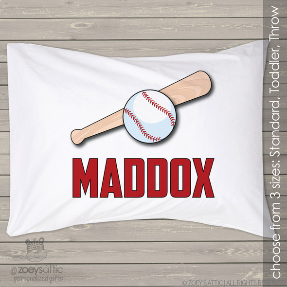 Baseball ball and bat sports theme personalized pillowcase / pillow