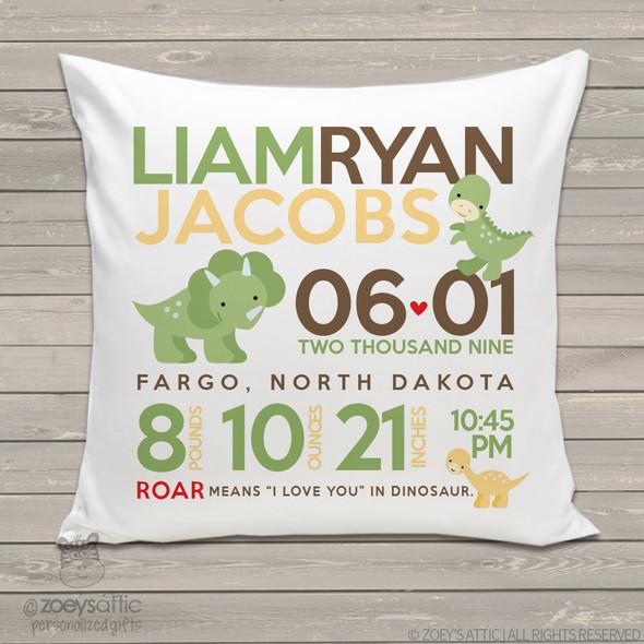 Birth announcement pillow dinosaur custom throw pillow with pillowcase