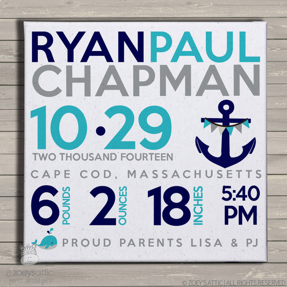 Birth announcement canvas print whale and anchor nautical theme custom birth announcement poster