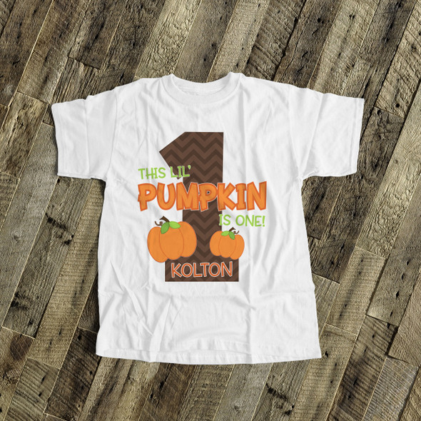 First birthday shirt lil' pumpkin 1st (or any) birthday boy or girl personalized Tshirt