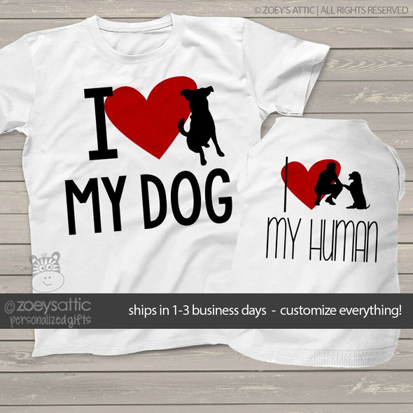 Funny I love my dog I love my human with heart adult shirt and dog shirt matching set