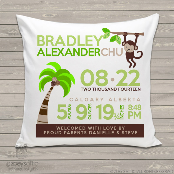 Birth announcement pillow jungle monkey custom throw pillow with pillowcase