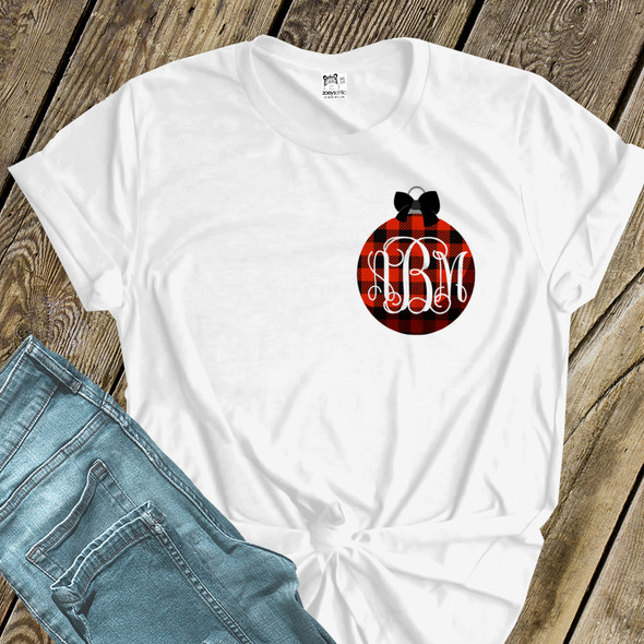 Holiday shirt monogram red buffalo plaid Christmas ornament womens crew neck or v-neck personalized Tshirt