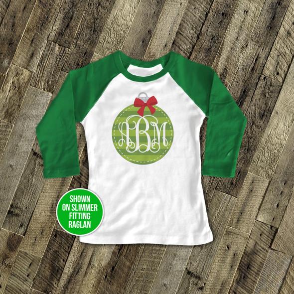 Holiday shirt monogram green Christmas ornament personalized raglan Tshirt