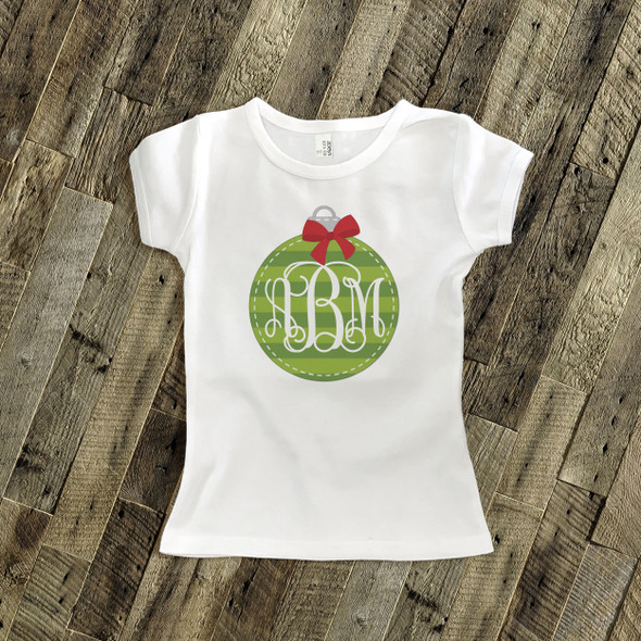 Holiday shirt monogram green Christmas ornament personalized Tshirt