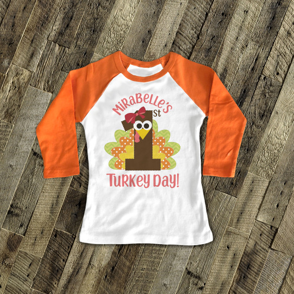 Thanksgiving shirt first turkey day boy or girl personalized 1st Thanksgiving raglan Tshirt