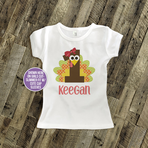 First birthday shirt funny Thanksgiving turkey 1st (or any) birthday boy or girl personalized Tshirt or bodysuit