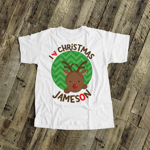 Christmas shirt red nosed reindeer personalized Christmas Tshirt