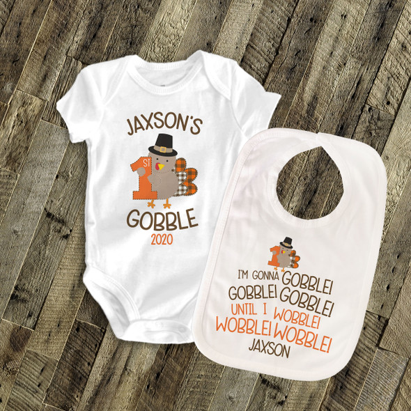 First Thanksgiving shirt with matching bib 1st gobble personalized Tshirt or bodysuit and bib matching set
