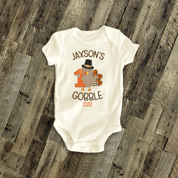 First Thanksgiving shirt 1st gobble personalized Tshirt or bodysuit