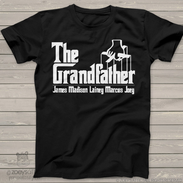 "Grandpa shirt funny parody ""The Grandfather"" custom DARK Tshirt  personalized with grandchildren names"