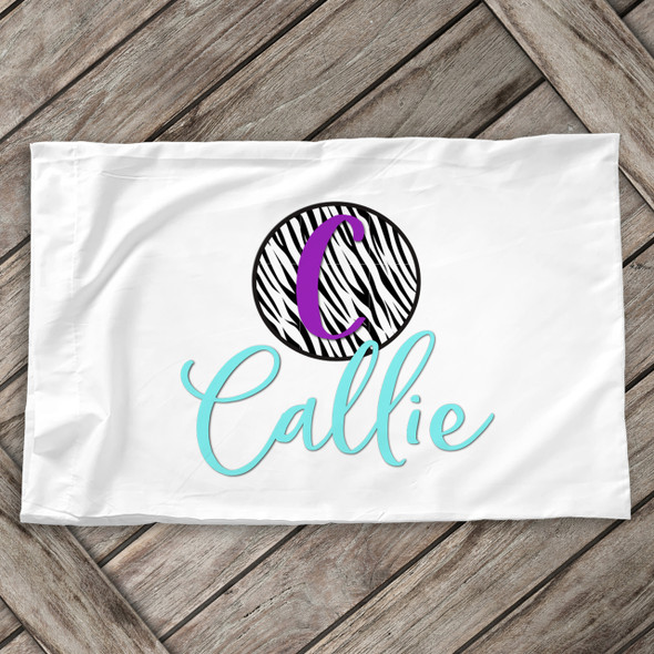 Zebra print initial with name personalized pillowcase / pillow