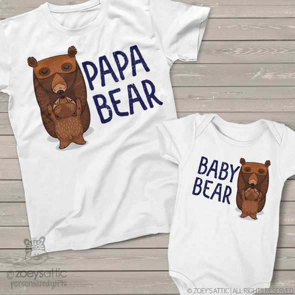 Bear theme papa bear and baby bear matching dad and baby t-shirt or bodysuit custom gift set