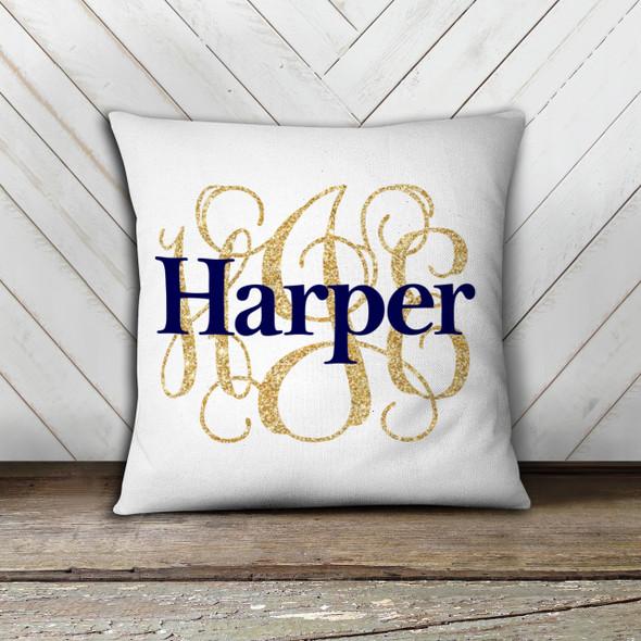 Girls monogram with name custom throw pillow with pillowcase