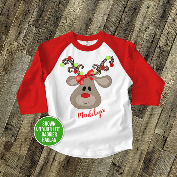 Christmas shirt girl reindeer animal print with Christmas light antlers personalized Christmas raglan Tshirt
