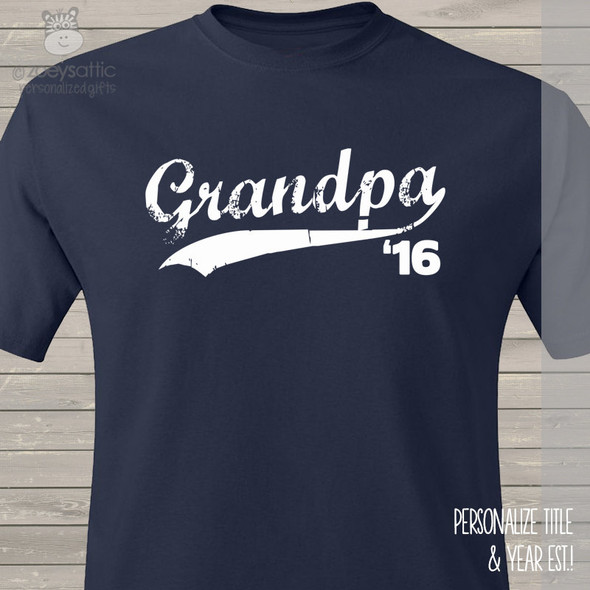 Grandpa shirt swoosh grandpa established any year custom DARK Tshirt