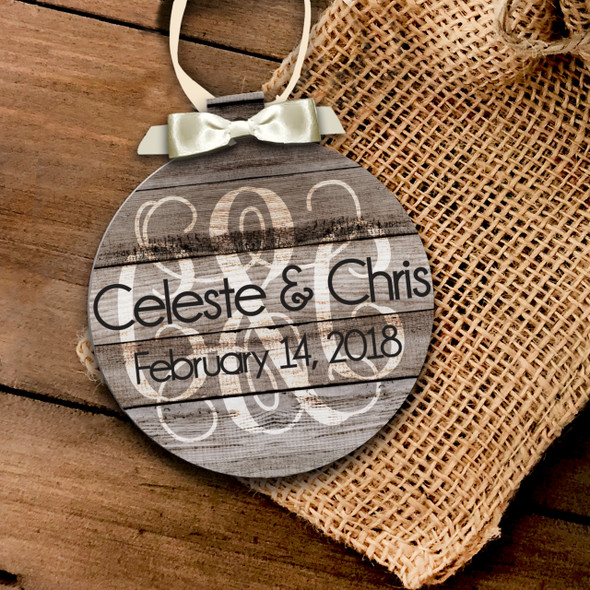 Holiday ornament monogram couple's first Christmas together personalized ornament