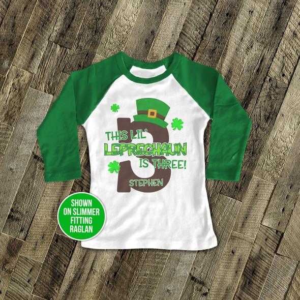 First birthday shirt li'l leprechaun any age personalized St. Patrick's Day raglan birthday Tshirt