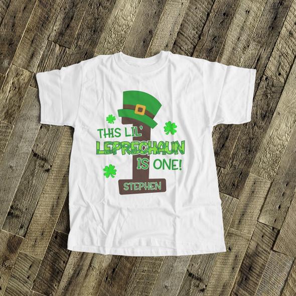 First birthday shirt li'l leprechaun any age personalized St. Patrick's Day birthday Tshirt or bodysuit