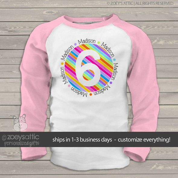 Birthday shirt girl rainbow stripes personalized raglan Tshirt