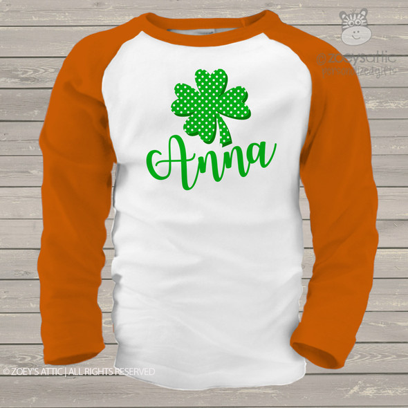 Lucky four leaf clover personalized St. Patrick's Day childrens raglan shirt