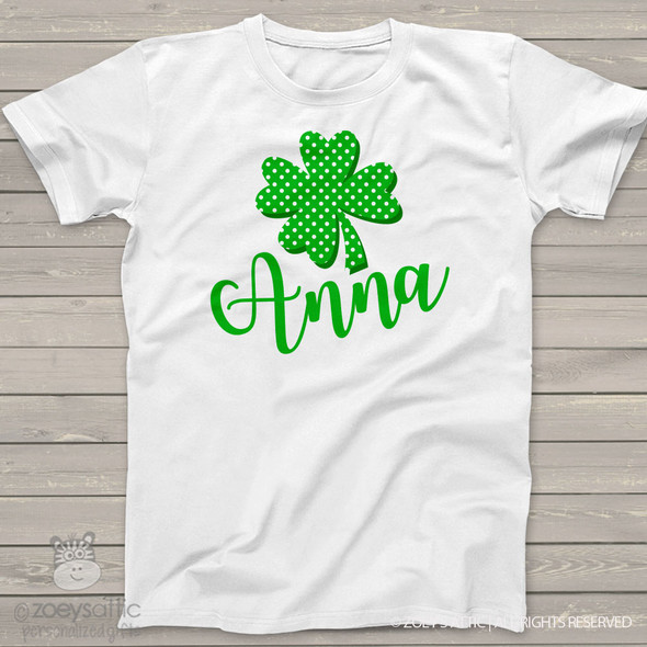 Lucky four leaf clover personalized St. Patrick's Day Tshirt or bodysuit